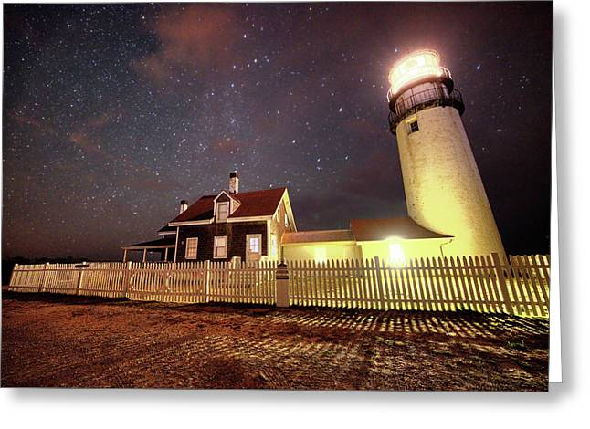 Highland Light Truro Massachusetts Cape Cod Starry Sky Shadow Greeting Card by Toby McGuire