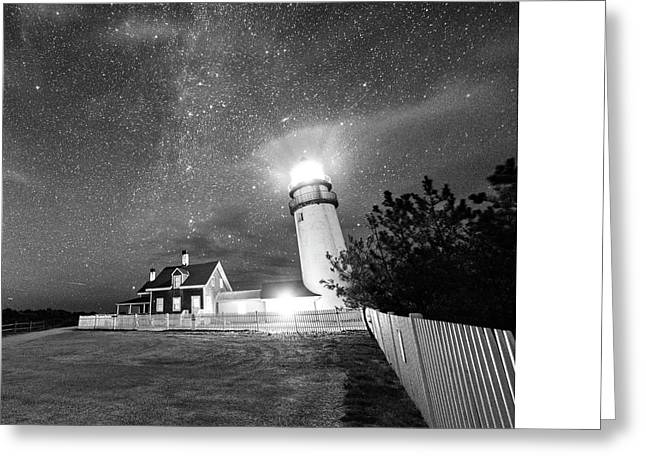 Highland Light Truro Massachusetts Cape Cod Starry Sky Shadow Yard Black And White Greeting Card by Toby McGuire