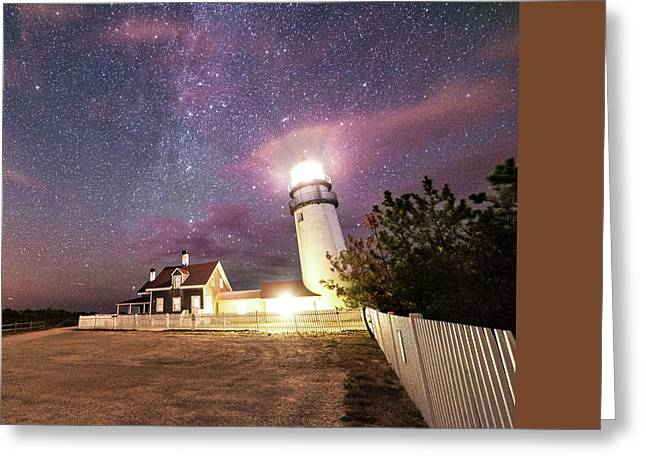 Highland Light Truro Massachusetts Cape Cod Starry Sky Shadow Yard Greeting Card by Toby McGuire