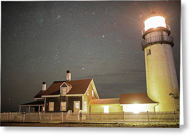 Highland Light Truro Massachusetts Cape Cod Starry Sky Greeting Card by Toby McGuire