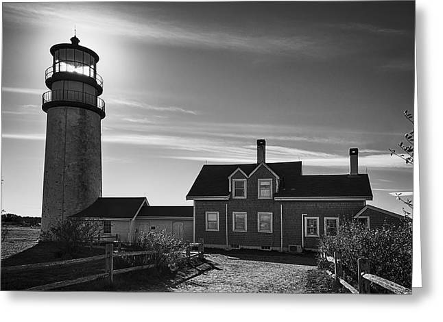 Highland Lighthouse Bw Greeting Card by Joan Carroll
