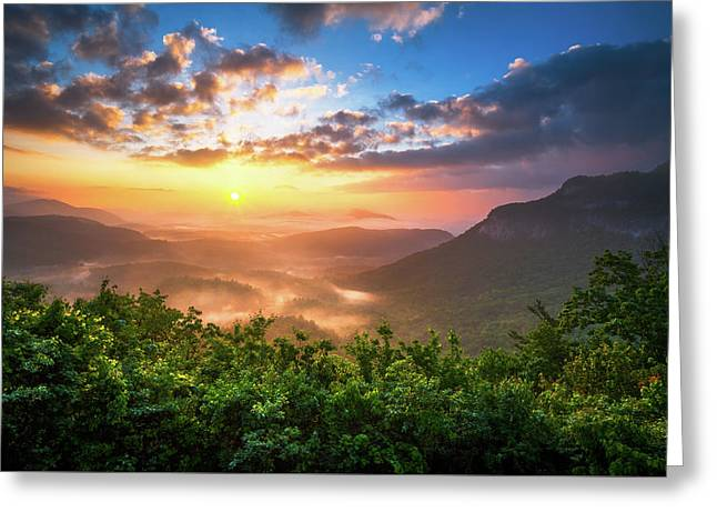 Highlands Sunrise - Whitesides Mountain In Highlands Nc Greeting Card by Dave Allen
