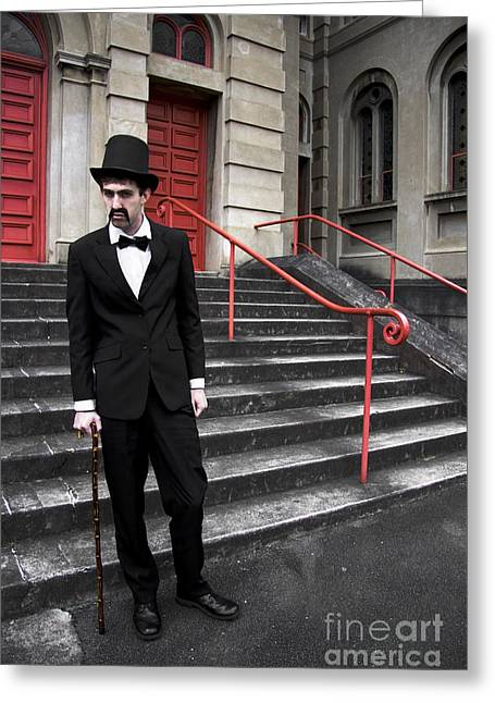 Highly Suspicious Vintage Gent Greeting Card by Jorgo Photography - Wall Art Gallery