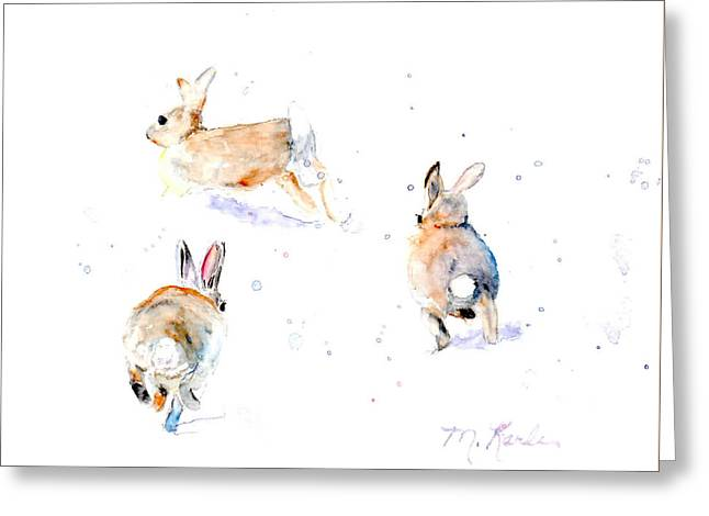Hightailing Bunnies Greeting Card