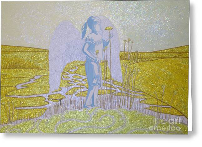 Highway Angel Landscape Bright Greeting Card by Daniel Henning