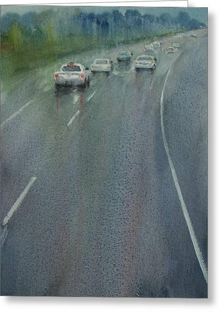 Highway On The Rain02 Greeting Card