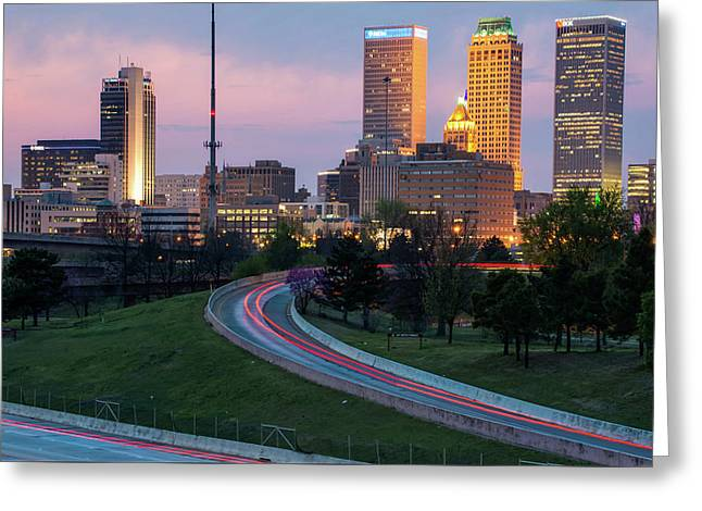 Highway View Of The Tulsa Skyline At Dusk Greeting Card