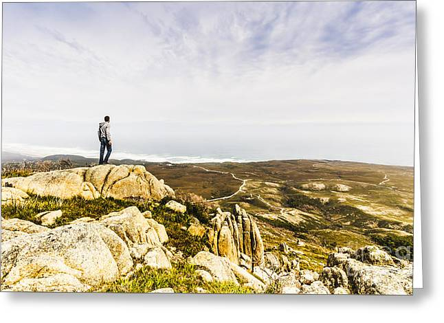 Hiker Man On Top Of A Mountain Greeting Card by Jorgo Photography - Wall Art Gallery