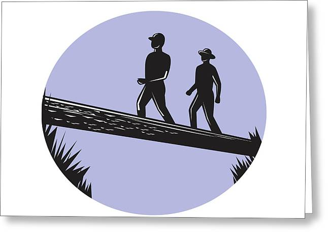 Hikers Crossing Single Log Bridge Oval Woodcut Greeting Card by Aloysius Patrimonio