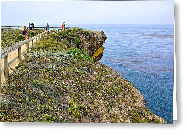 Hikers On Trail In Point Lobos State Reserve Near Monterey-california Greeting Card by Ruth Hager