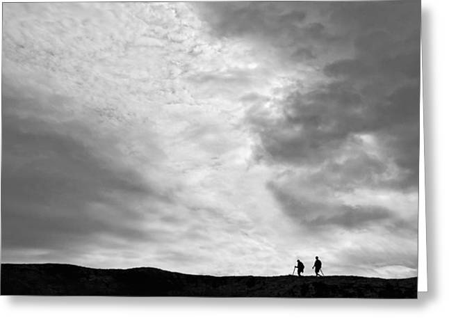 Greeting Card featuring the photograph Hikers Under The Clouds by Joe Bonita