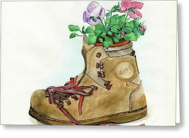 Hiking Boot Flower Pot Greeting Card