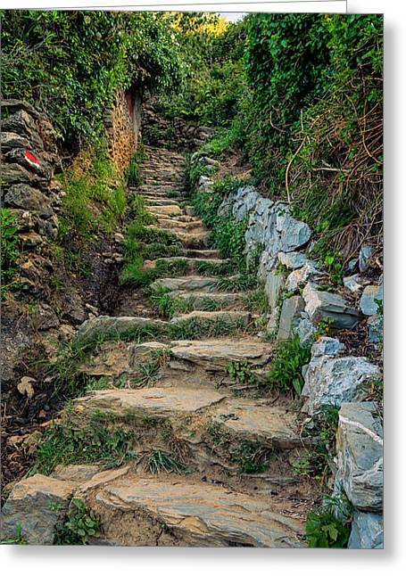 Hiking In Cinque Terre Italy Greeting Card by Joan Carroll