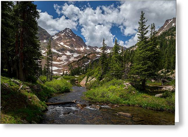 Hiking Into A High Alpine Lake Greeting Card by Michael J Bauer