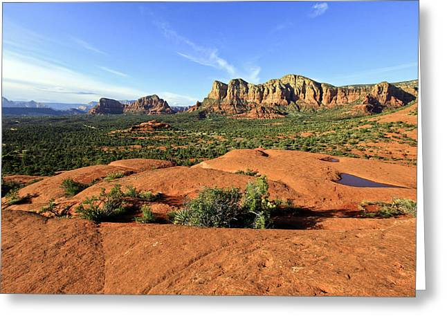 Bell Rock Greeting Cards - Hiking on Bell Rock Sedona Arizona Greeting Card by James Steele