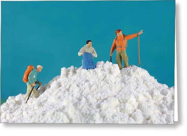 Child Toy Greeting Cards - Hiking on flour snow mountain Greeting Card by Paul Ge