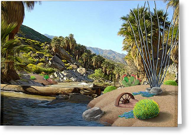 Palm Trees Mixed Media Greeting Cards - Hiking the Canyons Greeting Card by Snake Jagger