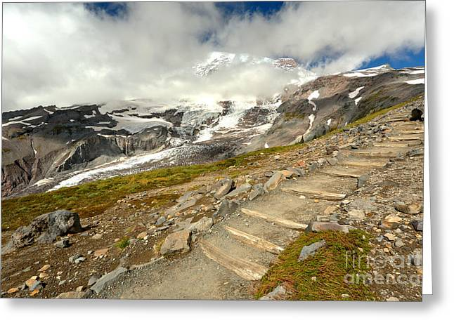 Hiking The Rainier Skyline Trail Greeting Card by Adam Jewell