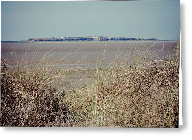 Hilbre Island Through The Grass Greeting Card by Spikey Mouse Photography