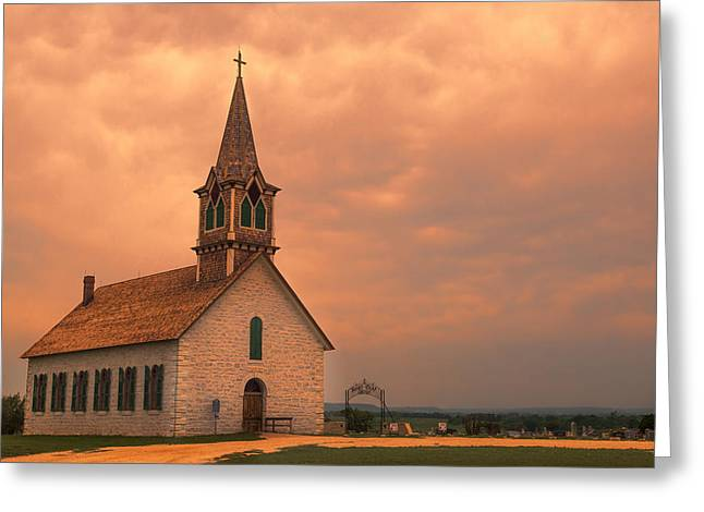 Hill Country Sunset - St Olafs Church Greeting Card by Stephen Stookey