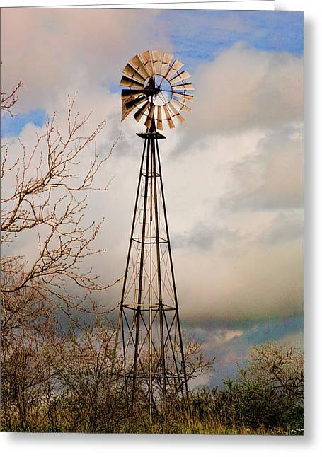 Greeting Card featuring the photograph Hill Country Windmill by Michael Flood