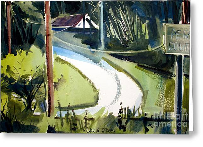Greeting Card featuring the painting Hill Top Drive Apartments Matted Framed Glassed by Charlie Spear