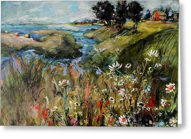 Hill Top Wildflowers Greeting Card by Sharon Furner