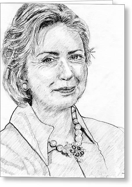 Hillary Clinton Pencil Portrait Greeting Card by Rom Galicia