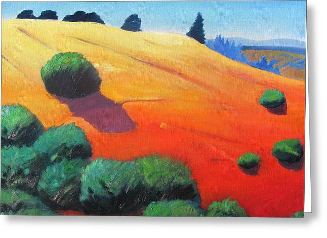 Greeting Card featuring the painting Hills And Beyond by Gary Coleman