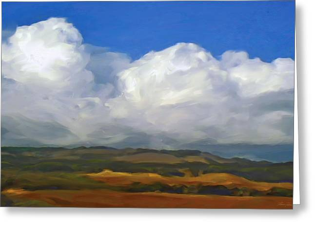 Hills And Clouds Greeting Card by Thomas  Hansen