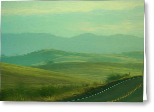 Hills In The Early Morning Light Digital Impressionist Art Greeting Card