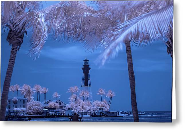 Greeting Card featuring the photograph Hillsboro Inlet Lighthouse Infrared by Louis Ferreira