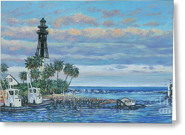 Hillsboro Lighthouse Dredge Greeting Card by Danielle Perry