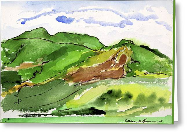 Hillside And Clouds Greeting Card