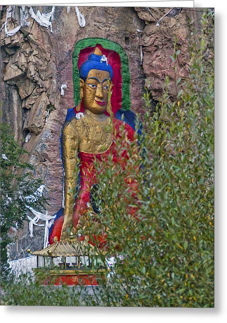 Greeting Card featuring the photograph Hillside Buddha by Alan Toepfer