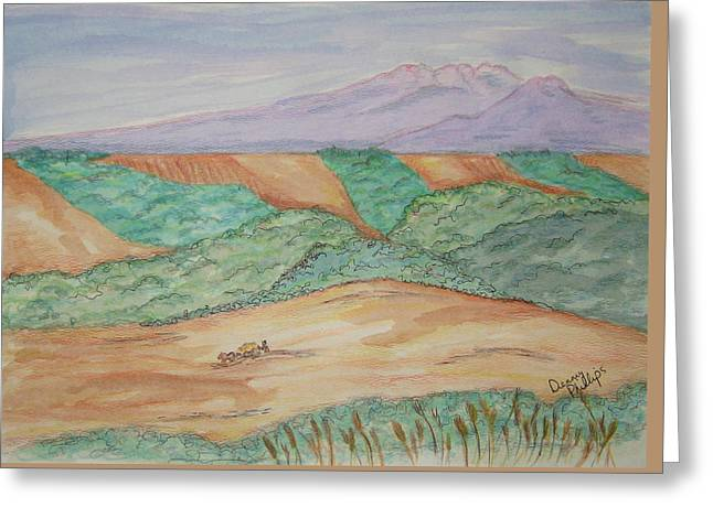 Hillside Farming Greeting Card by Denny Phillips
