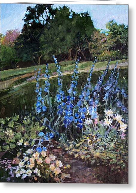 Greeting Card featuring the painting Hillside Garden by Diane Ursin