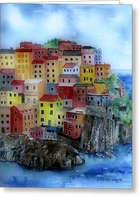 Hillside Homes Greeting Card by Arline Wagner