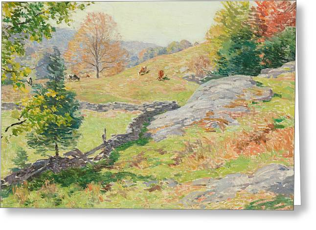 Hillside Pastures - September Greeting Card by Willard Leroy Metcalf