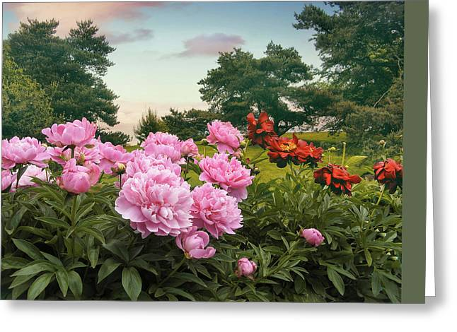 Hillside Peonies Greeting Card by Jessica Jenney
