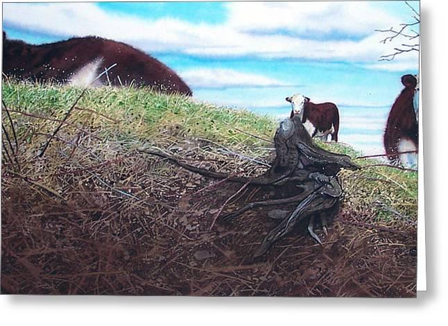 Hillside Retreat Greeting Card by Denny Bond