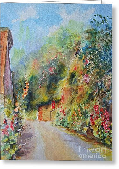 Greeting Card featuring the painting Hillside Street Hythe Kent by Beatrice Cloake