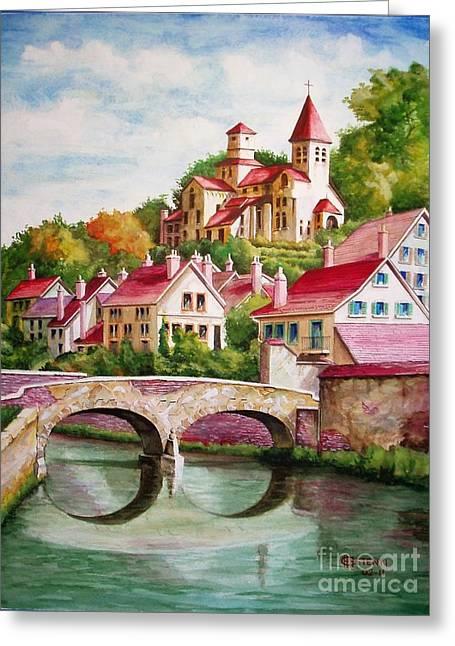 Hillside Village Greeting Card by Charles Hetenyi