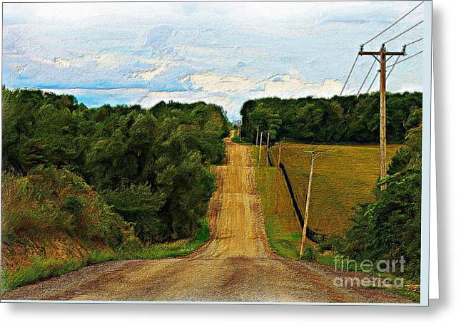 Hilly Country Road Greeting Card by Anthony Djordjevic