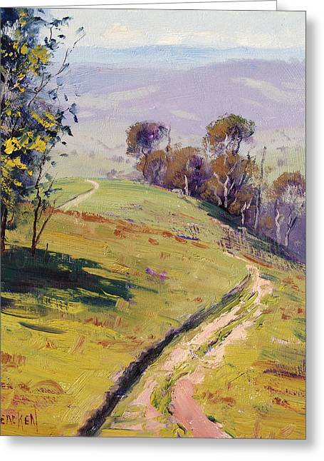 Hilly Landscape Lithgow Greeting Card