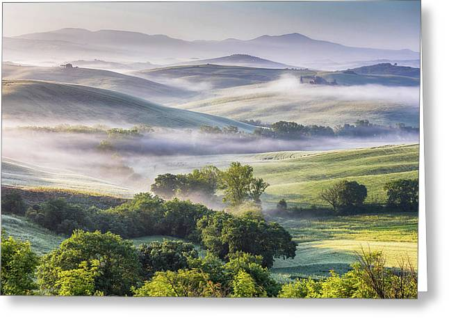 Hilly Tuscany Valley At Morning Greeting Card by Evgeni Dinev