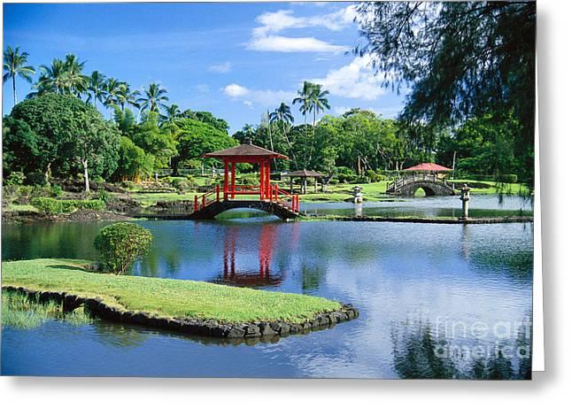 Hilo, Liliuokalani Garden Greeting Card by Greg Vaughn - Printscapes
