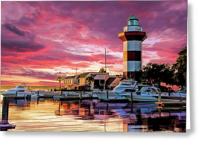 Greeting Card featuring the painting Hilton Head Harbour Town Lighthouse by Christopher Arndt