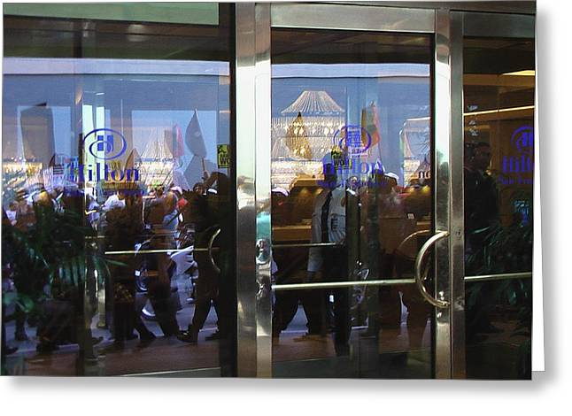 Hilton Hotel San Francisco - Protest March Greeting Card by Ralph Stein