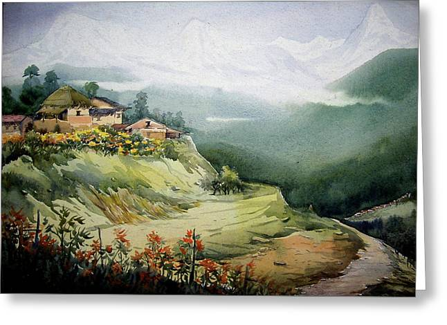 Himalaya Village Landscape Greeting Card by Samiran Sarkar